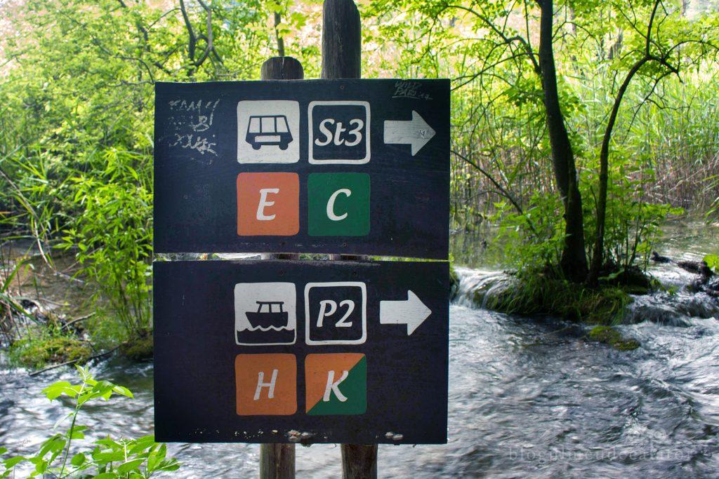 placute de lemn cu variante de trasee in Parcul National Lacurile PLitvice