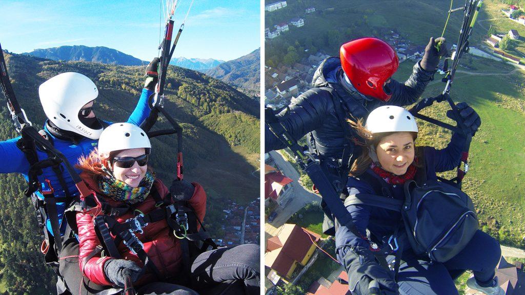 Cori si Andreea -primull zbor cu parapanta